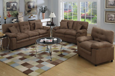 3 Piece Living Room Set Plush Chocolate Microfiber Couch Loveseat & Chair New