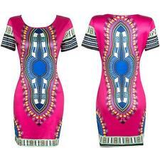 Women Traditional African Print Dashiki Dress Short Sleeve Party Shirt Plus Size