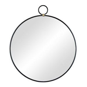 Wandspiegel rund, Spiegel schwarz, Hängespiegel Metallspiegel, Flurspiegel 61 cm