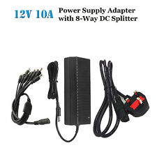 12V 10A Adapter Power Supply for CCTV Camera DVR + 8 Way DC Power Splitter Cable