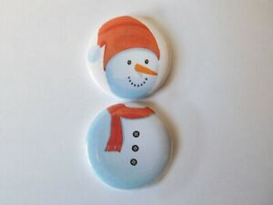 Snowman  Two 25mm Button Badges Funny Christmas