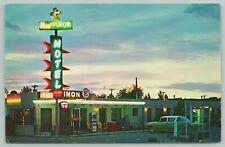 Albuquerque Nm~Pinon Motel~Neon Night Lights~Telephone Booth 1950s Cars~Route 66