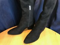 Marc Fisher Lecture Suede Block Heel Tall Riding Boots Women's 10 M Black 10M