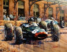 Double Victory at Monaco Graham Hill BRM Monaco GP Print by Juan Carlos Ferrigno