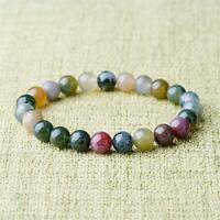 6mm Natural Indian Agate Stretch Bracelet 7.5 Inches Bless Handmade Cuff Lucky