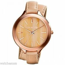 Michael Kors Runway Horn Dial Beige Leather Double Strap Ladies Watch MK2347