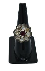 Handmade 925 Sterling Silver Rose Cut Polki Pave Diamond Ruby Gems Ring Jewelry