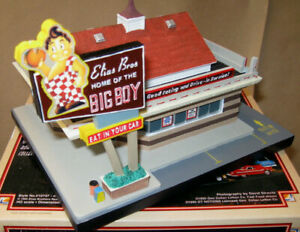 ELIAS BROS BIG BOY RESTAURANT Lefton Fast Food Roadside USA 1995 W/ 2 Cars NOS