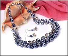 Grey Pearl and Clear Bead Cluster Statement Necklace and Earring Set