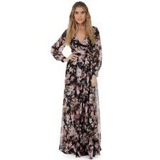 Ladies Evening Party Floral Long Maxi Dress With Pockets Long Sleeve Boho Dress