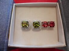 Simulated Multi-Color Diamond Earrings Set of 2 in 925 Sterling Silver-6.60 CTW