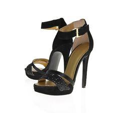 NIB Nine West FIRSTMET Black Suede Glitter Pump Hi Heel Sandals Ankle Strap 12M