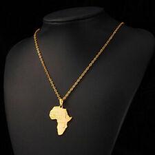 Gold Africa Necklace Pendant & 22 Inch Chain Rasta Reggae Afro Black African U.K
