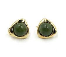 Irish Connemara Marble Clip Earrings - Gold Plate