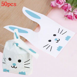 50Pcs Cute Long Bunny Rabbit Ear Gift Bag Easter Candy Plastic Party Favors ZW
