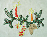 "VINTAGE CHRISTMAS DECORATION HAND MADE EMBROIDERY LINEN 36""x 56""TABLECLOTH"