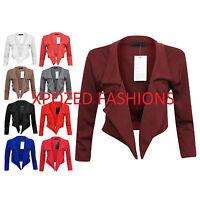 H1A Womens Ladies Waterfall 3/4 Sleeve Crop Blazer Jacket Coat Plus Size 8 - 20