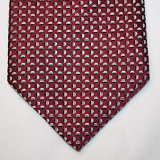 NEW Calvin Klein Silk Neck Tie Burgundy with Black and Light Blue Pattern 1335