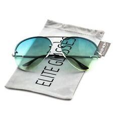 Elite Gradient Oceanic Lens Oversized Rimless Metal Frame Aviator Sunglasses
