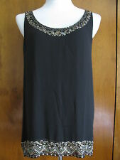 DKNY  women's black silk beads decorated evening top size 10 NWT