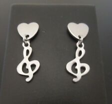 8mm Stainless Steel Heart Studs Stud Earrings ~ SMALL Treble Clef Dangle Charm