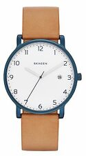 Skagen SKW6325 Men's Hagen Blue Ion Plated White Dial Leather Band Analog Watch