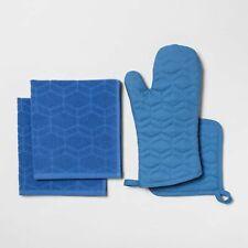 Target Room Essentials Kitchen Set Oven Mitt Potholder 2 Towels 4 Pc Blue New