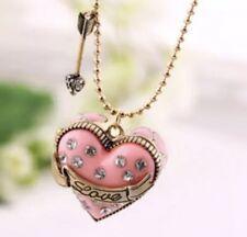 Betsey Johnson Necklace Pink HEART Crystal   Arrow Valentines Enamel Locket Ring