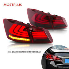 Red Smoke Led Brake Tail Lights for 2013-2015 Honda Accord 4 door Sedan
