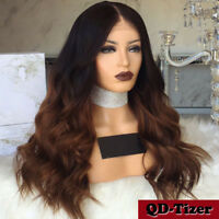 Ombre 100% Brazilian Remy Front Lace Human Hair Wig Long Body Wavy Full Lace Wig