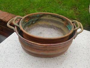 2 X Vintage Oval Copper Planters Brass Handles