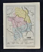 1864 Le Bealle Map France Department Cher Bourges St. Amand Chateauneuf Vierzon