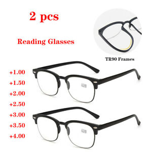 2 PCS Plastic Reading Glasses TR90 Half Frame Spectacles +1.0 +1.5 to +4.0