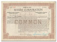 Maxim Corporation Stock Certificate (Machine Guns, Munitions, 1919)