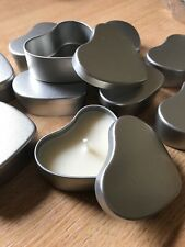 Silver Coloured Heart Candle Making Tins X10 (50ml)