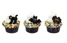 Halloween Party Cat Bat Spider cupcake rings (24) favor cake topper 2 doz