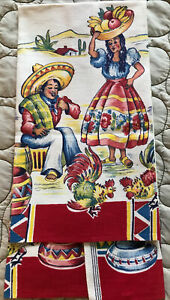 VIVID Mexican Tea Towel Barkcloth Era Vintage Fabric Linen 40s 50s 16 X 29 CRISP