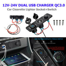 12V 24V Car Cigarette Lighter Socket Dual USB Port QC3.0 Charger Voltmeter Panel