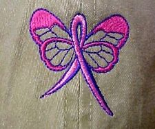 Pink Ribbon Butterfly Baseball Hat Khaki Tan Breast Cancer Awareness Embroidered