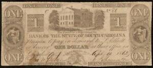 1862 $1 DOLLAR BILL SOUTH CAROLINA BANK NOTE CIVIL WAR CURRENCY OLD PAPER MONEY