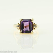 EMERALD CUT AMETHYST & DIAMOND COCKTAIL CLUSTER RING 14K YELLOW GOLD SIZE US5.5