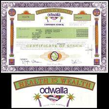 Odwalla, Inc CA 2001 Stock Certificate