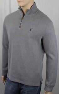 Polo Ralph Lauren Grey 1/2 Half Zip Sweater Navy Blue Pony NWT
