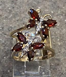 Vintage 14K Yellow Gold Garnet & Diamond Butterfly Cocktail Ring Custom Made