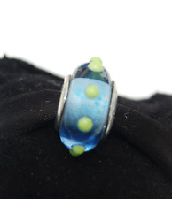"Genuine Pandora Murano Glass Bead ""Seeing Spots"" Blue & Lime 790628 retired"