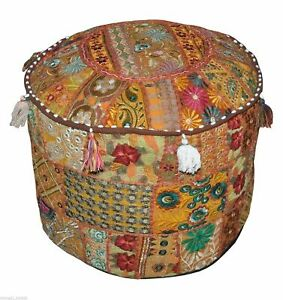 """14X22"""" Round Footstool Cover Indian Cotton Throw Patchwork Vintage Ottoman Pouf"""