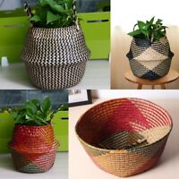 UK Large Size Foldable Handmade Potted Beach Seagrass Belly Basket Storage Bags
