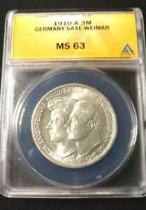 Gorgeous 1910-A Germany-Saxe-Weimar Silver 3 Mark Graded by ANACS MS-63 KM-221 !
