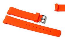 Cinturino in gomma arancione per orologio ansa curva 22mm tipo nautica lungo