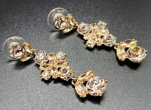 °•☆GENUINE GIVENCHY PEACHY PINK CRYSTAL EARRINGS •°☆BNWT☆°• SIGNED GIVENCHY ☆•°